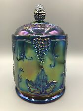 Vintage Indiana Carnival Glass Blue Candy Dish With Lid Iridescent Grapes #2224