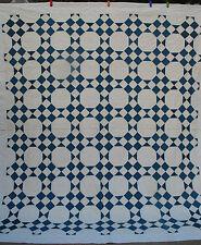 Antique Quilt  Indigo Blue White Cotton 1900's graphic & great condition 84x93