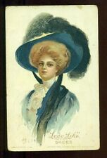 LADY LIKE Trade Mark SHOES Beautiful Pretty Lady Fancy Hat Vintage 1909 Postcard