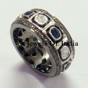 Natural Pave Diamond & Diamond Polki & Solid 925 Sterling Silver Ring Sz 7US