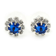 Small Sapphire Blue/ Clear Diamante Stud Earrings In Silver Finish - 10mm D