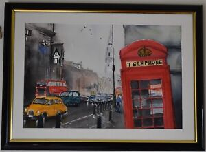Original Watercolour Painting - Leaning Red Phone Booth, London