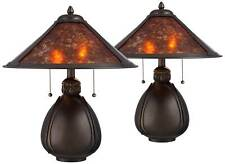 """Traditional Accent Table Lamps 19"""" Set of 2 Bronze Pottery Mica for Bedroom"""
