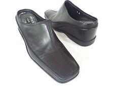 VIA SPIGA - Women's Black Leather Wedge Mules Slides - Size 8M