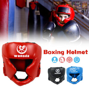 Kick Boxing Helmet PU Fully Covered Headgear Kid Adult Fight Training Head Guard
