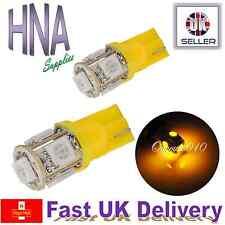 2 x 5 SMD LED 501 T10 W5W AMBER / ORANGE Side Light Interior Indicator Bulbs vw