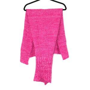 Children's Mermaid Tail Blanket Knitted Mermaid Throw Blanket Bright Pink