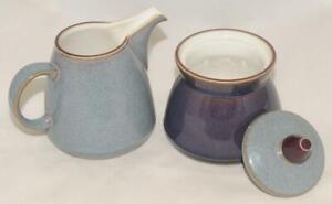 Denby ~ STORM - Plum Purple / Grey Blue Sugar Bowl w/ Lid & Creamer