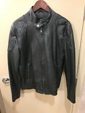 Men's Medium Green Faux Leather Bomber Jacket Was $145 With Zipper Sleeves