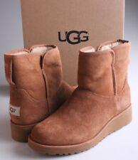Women's UGG Australia Chestnut Suede Sheepskin Kristin Ankle Boots Sz 6 37 NIB