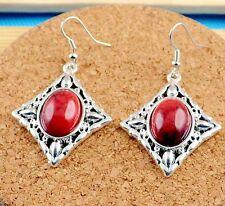 Nice New Tibetan Silver Artesian Crafted Red Diamond Shape Dangle Drop Earrings