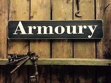 Armoury Vintage Style Wood Sign, Shooting Hunting Gun Guns Game Hunt Rifle