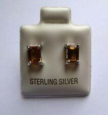 argento sterling quattro artigli taglio a SMERALDO CITRINO Orecchini a lobo