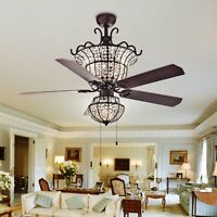 "Tiffany Warehouse CFL-8154BR Charla 4-Light Crystal 52"" Chandeliers Ceiling Fans"