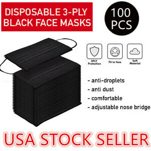 100PCS 3-Ply Disposable Face Mask Non Medical Surgical Earloop Mouth Cover-Black