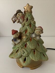 """Ceramic 8.5"""" Tabletop Green Perforated Light Up Christmas W/Triple Snowman Tree"""