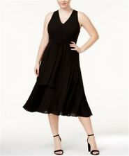 RACHEL Rachel Roy Womens Dress Plus Size 14W Black Sleeveless Tie-Front New   *a