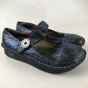Alegria Womens Size 9 EU 39 Blue Black Leather Comfort Shoes Mary Jane Strap