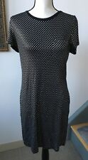 Michael Kors shirt dress Sz M black sequin gel metallic silver polka dot bids