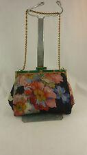 Unusual Vintage Silk? Purse Handbag with Green Stones