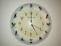 Horloge Pendule Vintage 90's décor Oiseaux
