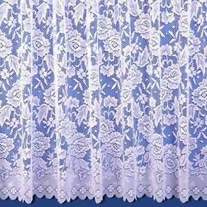 Scalloped Bottom BELLA Lace NET CURTAIN ,WHITE,THICK LACE, ALL SIZE, SOLD BY Mt