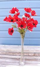 Bunch of 6 Stems Artificial Red Field Meadow Poppies 18 Silk Poppy Heads 6 buds
