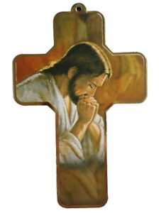 Beautiful Wood Base Praying Jesus Our Lord Religious Cut Out Cross Printed Icon