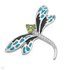 STNNING 925 STERLING SILVER AND ENAMEL DRAGONFLY BROOCH