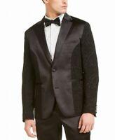 INC Mens Suit Jacket Ultra Black Size XL Embroidered Satin Tuxedo $200 #002