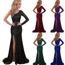Women Sexy One-shoulder Slit Fashion Long Dresses Summer Evening Party Sundress
