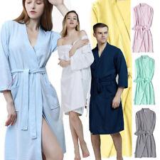 Men Women Cotton Waffle Bath Robe Suck Sweat Kimono Bathrobe Summer  Nightgowns 371e59cbd