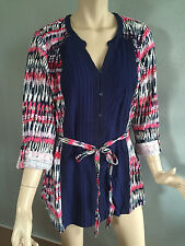 Womens Sz 20 Autograph BRAND Navy Pattern 3/4 Sleeve Boho Tunic Top
