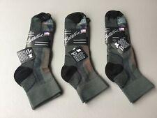New Men's Ballston 70% Merino Wool Blend Ankle Socks 3 Pair Black Grey #1053L