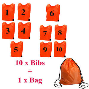 Mens Football KIT Training Bibs NUMBERED Vest Team Sports UNISEX 10 Pack rugby