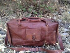 "25"" Vintage Retro Women's Men's Leather Weekend Shoulder Duffle Travel Tote Bags"