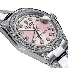 Women's 31mm Rolex SS Oyster Perpetual Datejus Custom set Diamonds Pink Dial