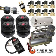 Air Ride Suspension Dual Air Compressor Four Air Bags tank valves 5 Gal xzx