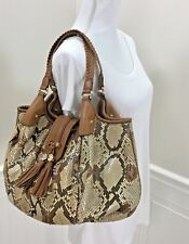 Auth GUCCI Beige Brown Python and Leather Marrakech Large Hobo Bag Purse   MINT