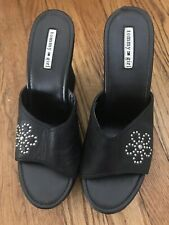"Tommy Hilfiger ""Tommy Girl"" Shoes Size 10M Black Leather Clog Wedge Heel"