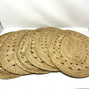 Vintage Straw Wicker Rattan Woven Oval Placemats Set of 6