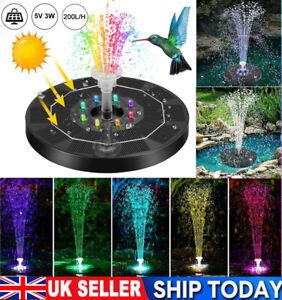 LED Solar Panel Powered Fountain Water Feature Pump Garden Pond Pool Aquarium UK