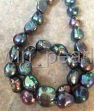 12-13mm tahitian baroque black green multicolor pearl necklace 18inch 925S