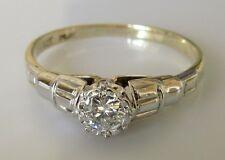 Edwardian 9ct Yellow White Gold Single 0.10ct Round Cut Diamond Ring Size M 1/2.