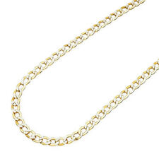 14K Yellow Gold  4mm Hollow Diamond Cut Cuban Curb Link Chain Necklace 24""