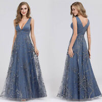 Ever-Pretty A Line Evening Dresses Long Lace Organza V-neck Formal Prom Gown