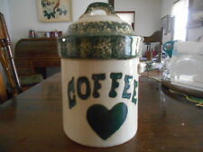 "Green Heart Handled Canister Cookie Jar 7 1/2"" H Stoneware White Green Sponge !"