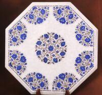 "24"" Marble center Coffee Table Top Lapis lazuli Floral Rare Inlay Patio Decor"