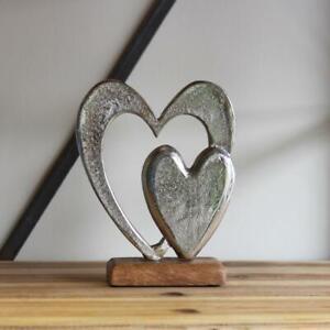 Aluminium Double Heart on Wooden Block Romanitic Love Home Decor Ornament