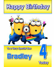 Despicable Me Minion Birthday Card Personalised A5 Large any age any Name